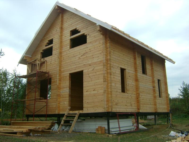 строительство дома из клееного бруса на винтовых сваях в Нижегородской области