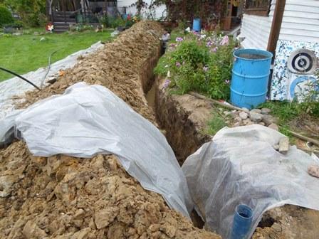 подготовка траншени для прокладки водопровода от скважины