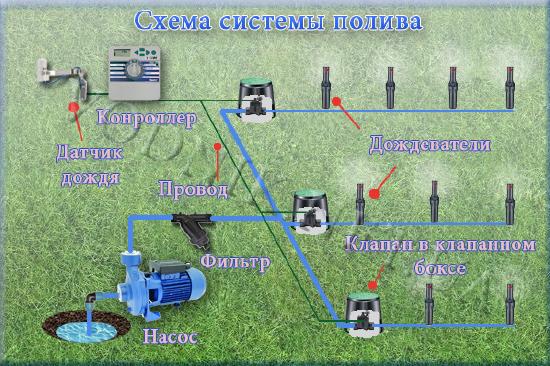 система автоматического полива - дождевание